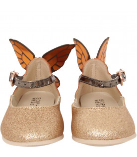 "SOPHIA WEBSTER MINI Gold glitter ""Chiara"" ballerina"