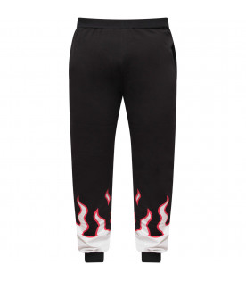 JEREMY SCOTT Black boy pants with white and red flames