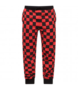 JEREMY SCOTT Red and black boy checkered pants