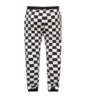 JEREMY SCOTT White and black boy checkered pants