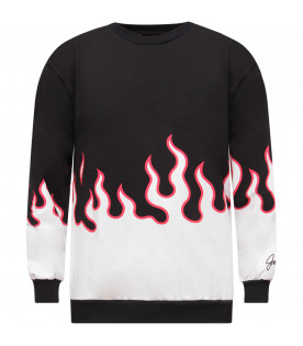 JEREMY SCOTT Black boy sweatshirt with white and red flames
