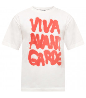 JEREMY SCOTT White maxi T-shirt with red writing