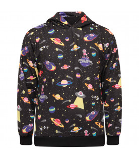 JEREMY SCOTT Black sweatshirt with colorful prints