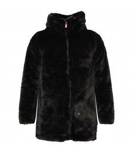 SAVE THE DUCK KIDS Black girl reversible faux fur
