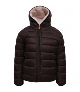 SAVE THE DUCK KIDS Brown boy jacket with ivory faux-fur inside