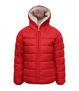 SAVE THE DUCK KIDS Red girl jacket with ivory faux-fur inside