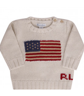 RALPH LAUREN KIDS Ivory sweater with flag