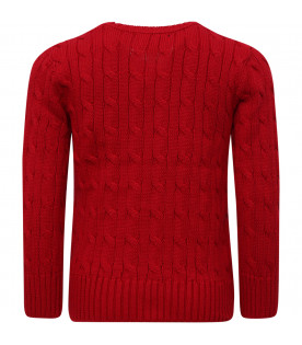 RALPH LAUREN KIDS Red cable-knit boy sweater