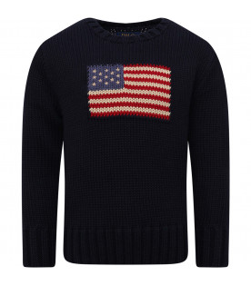 RALPH LAUREN KIDS Blue boy sweater with flag