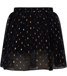 STELLA MCCARTNEY KIDS Gonna bambina nera con pois dorati