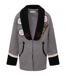 STELLA MCCARTNEY KIDS Cappotto bambino grigio con patch colorati