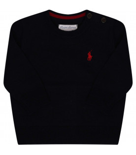 RALPH LAUREN KIDS Blue sweater with logo