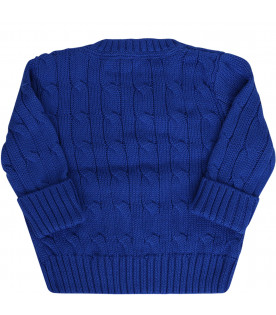 RALPH LAUREN KIDS Light blue cable-knit sweater