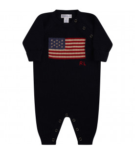 Blue babygrow with flag