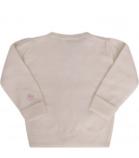 RALPH LAUREN KIDS Ivory cardigan with bows
