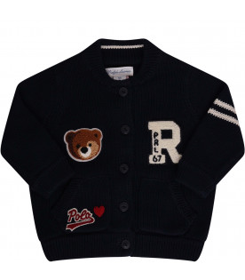 RALPH LAUREN KIDS Cardigan blu con patch