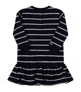 RALPH LAUREN KIDS Blue dress with white stripes and patches