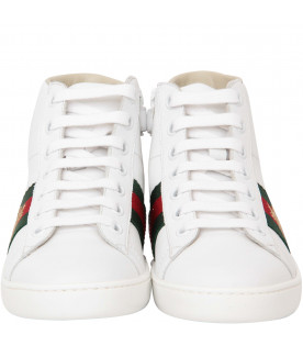 GUCCI KIDS White leather high-top sneaker with bee