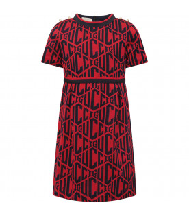 GUCCI KIDS Blue and red Gucci Game dress
