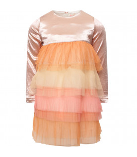 Multicolor pleated ruffles skirt with pink top