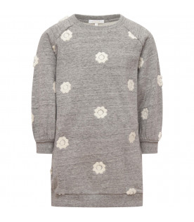 CHLOÉ KIDS Grey dress with embroidered white flowers