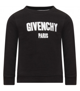 GIVENCHY KIDS Black sweatshirt with white embroidered logo
