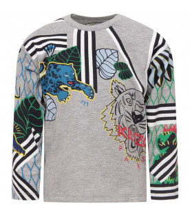 KENZO KIDS GREY T-SHIRT WITH COLORFUL TIGERS