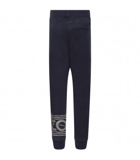 KENZO KIDS Blue girl pants with silver logoi