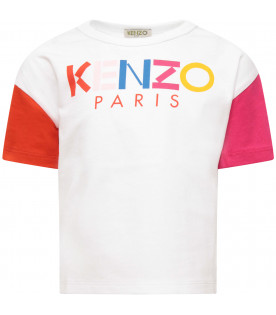 KENZO KIDS White girl t-shirt with colorful logo