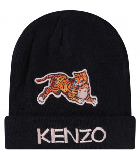 KENZO KIDS BLUE HAT WITH pink LOGO