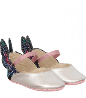 "SOPHIA WEBSTER MINI Silver ""Chiara Embroidery Baby"" ballerina"