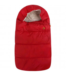 SAVE THE DUCK KIDS Red sleeping bag with iconic logo