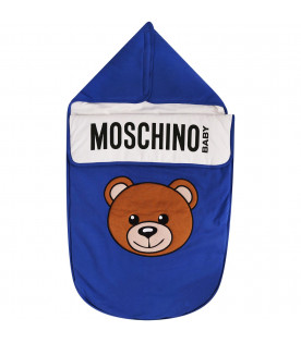 MOSCHINO KIDS Sacco nanna blu con Teddy-Bear colorato