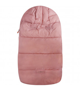 SAVE THE DUCK KIDS Pink sleeping bag with iconic logo
