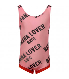 "Pink ""Banana Lover"" swimsuit for girl"