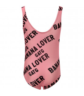 "GARDNER AND THE GANG Costume da bagno bambina rosa ""Banana Lover"""