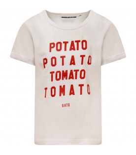 "GARDNER AND THE GANG T-shirt bianca ""Potato Tomato"""