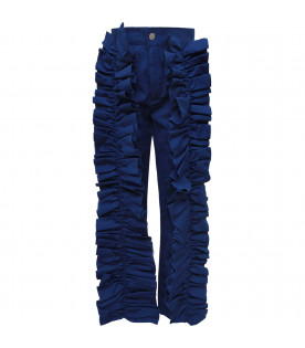 CAROLINE BOSMANS Royal blue girl pants with ruffles