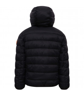 SAVE THE DUCK KIDS Black boy jacket with ivory faux-fur inside