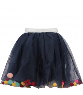 BILLIEBLUSH Gonna bambina blu con pom-pom colorati
