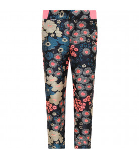 Blue pants for girl with colorful flowers