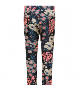 BILLIEBLUSH Blue girl pants with colorful flowers