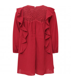 CHLOÉ KIDS Red girl dress with ruffles