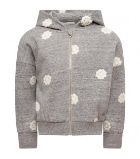 CHLOÉ KIDS Grey girl sweatshirt with white flowers