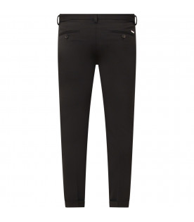 Black pants with metallic logo for boy