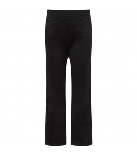 GIVENCHY KIDS Black girl pants with black logo and zip