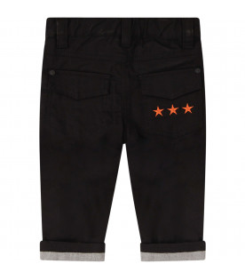 GIVENCHY KIDS Black pants with orange stars