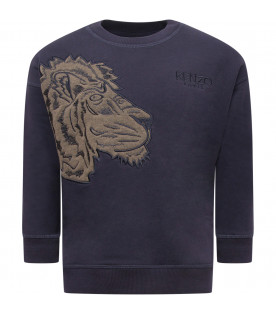 KENZO KIDS Blue boy sweatshirt with green tiger