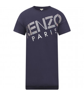 KENZO KIDS Blue girl dress with iridescent logo