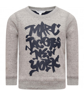 LITTLE MARC JACOBS Grey boy sweatshirt with blue logo